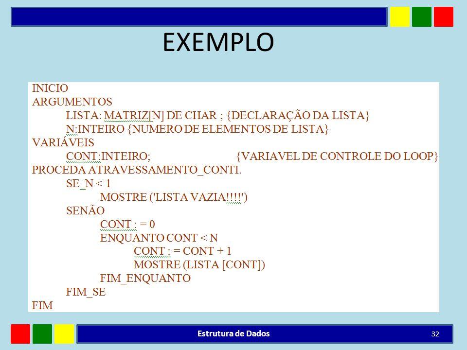 EXEMPLO Estrutura de Dados