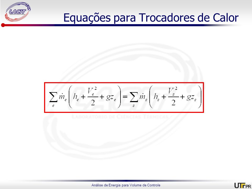 Equações para Trocadores de Calor