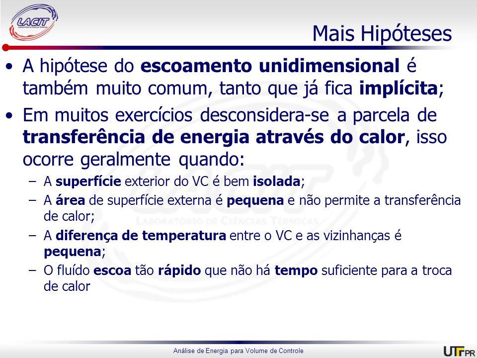 Mais Hipóteses A hipótese do escoamento unidimensional é também muito comum, tanto que já fica implícita;