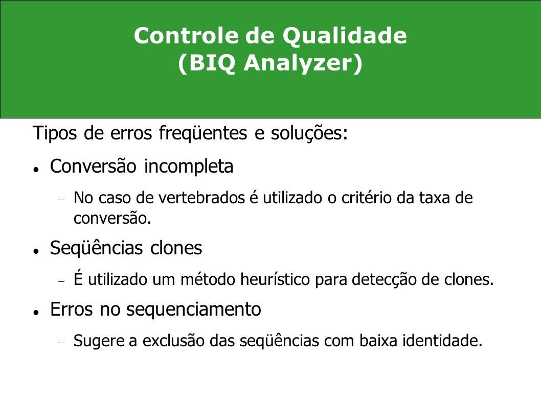 Controle de Qualidade (BIQ Analyzer)