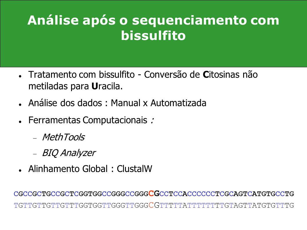 Análise após o sequenciamento com bissulfito