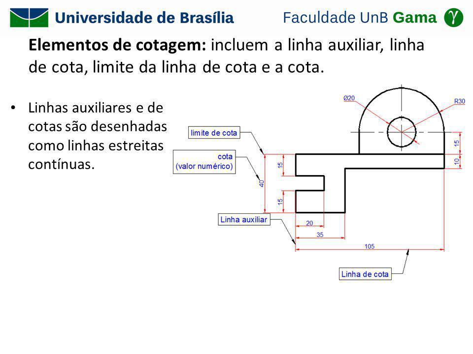 Elementos de cotagem: incluem a linha auxiliar, linha de cota, limite da linha de cota e a cota.
