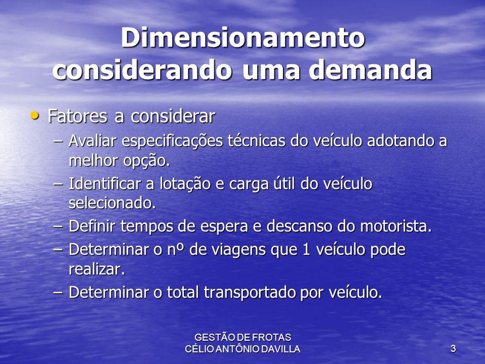 Dimensionamento considerando uma demanda