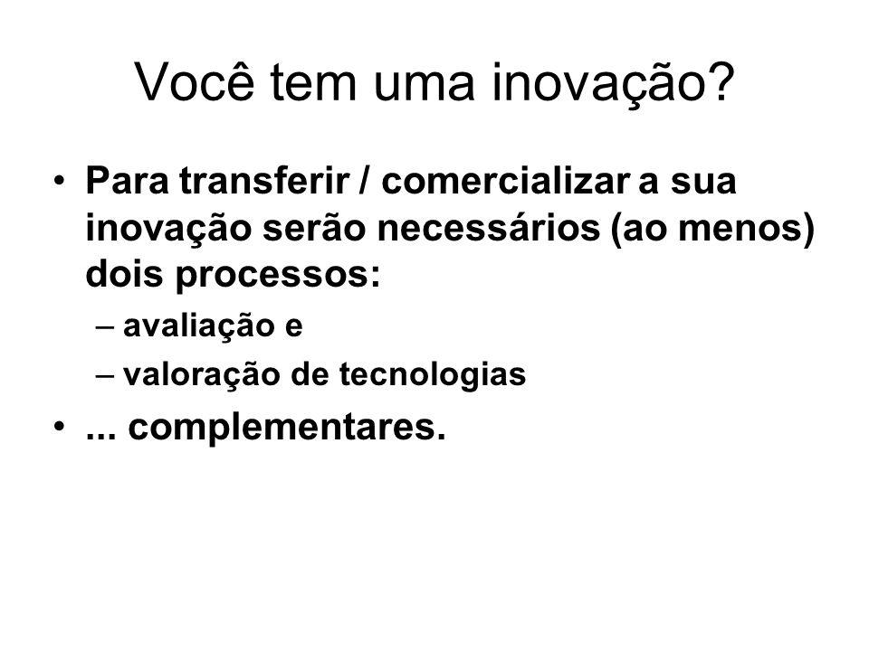 Você tem uma inovação Para transferir / comercializar a sua inovação serão necessários (ao menos) dois processos: