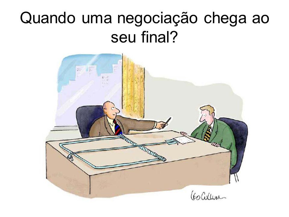 Quando uma negociação chega ao seu final