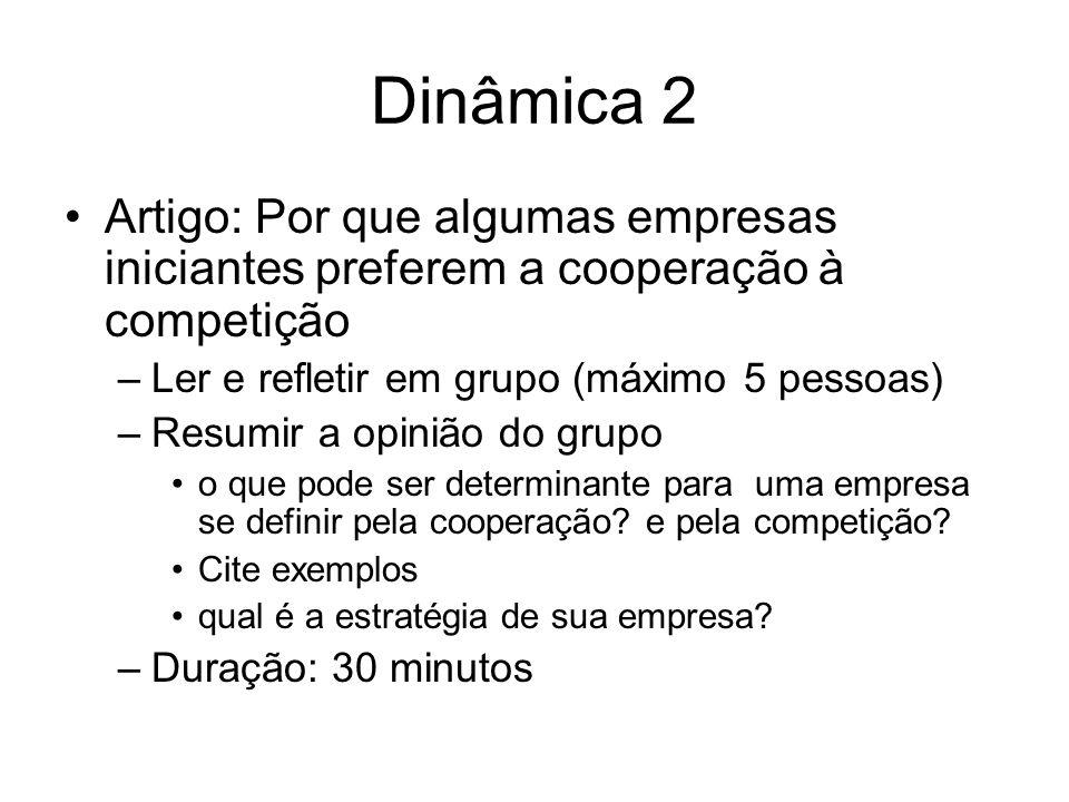 Dinâmica 2 Artigo: Por que algumas empresas iniciantes preferem a cooperação à competição. Ler e refletir em grupo (máximo 5 pessoas)