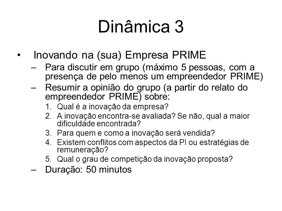 Dinâmica 3 Inovando na (sua) Empresa PRIME