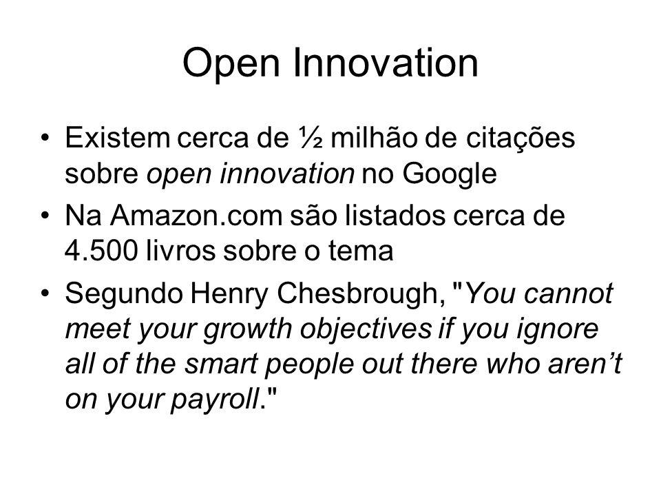 Open Innovation Existem cerca de ½ milhão de citações sobre open innovation no Google. Na Amazon.com são listados cerca de 4.500 livros sobre o tema.