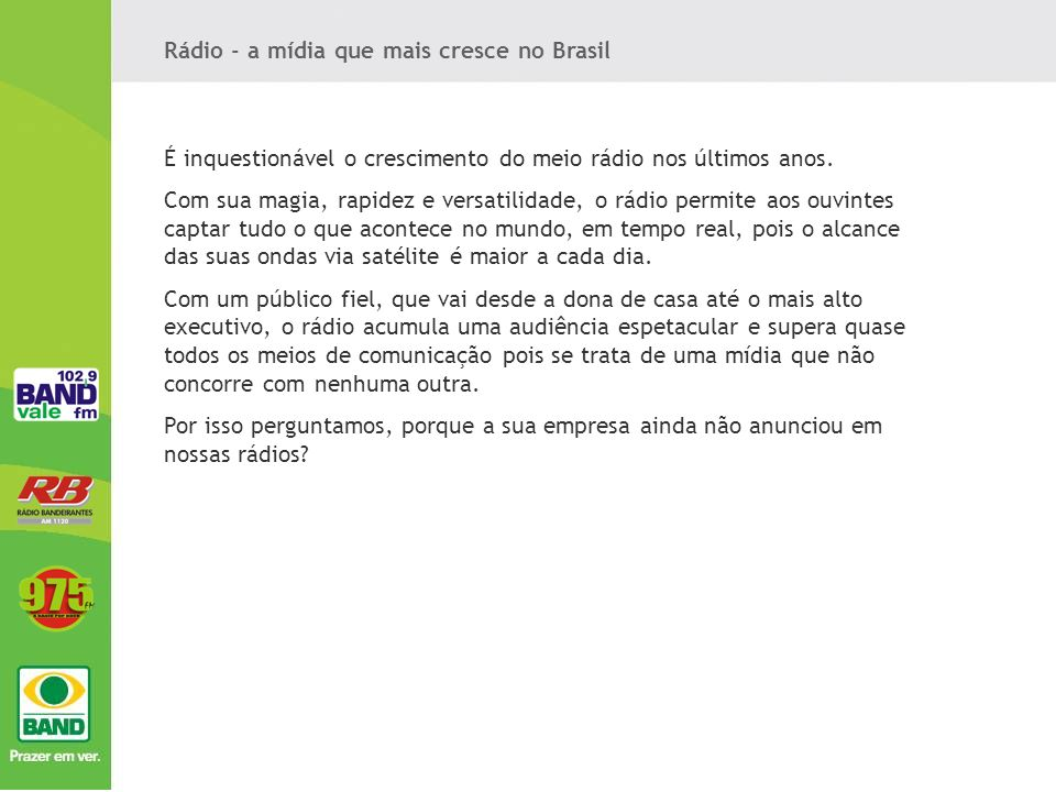 Rádio - a mídia que mais cresce no Brasil