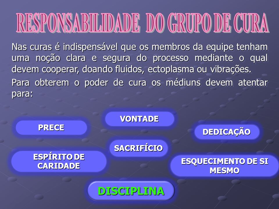 RESPONSABILIDADE DO GRUPO DE CURA ESQUECIMENTO DE SI MESMO
