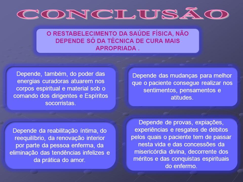 CONCLUSÃO O RESTABELECIMENTO DA SAÚDE FÍSICA, NÃO DEPENDE SÓ DA TÉCNICA DE CURA MAIS APROPRIADA .