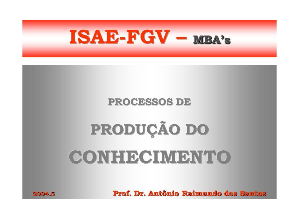 PRODUÇÃO DO CONHECIMENTO 2004.5 Prof. Dr. Antônio Raimundo dos Santos