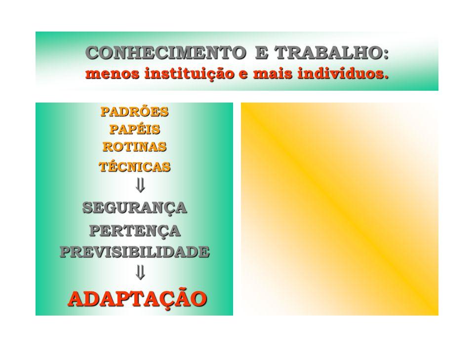 CONHECIMENTO E TRABALHO: menos instituição e mais indivíduos.