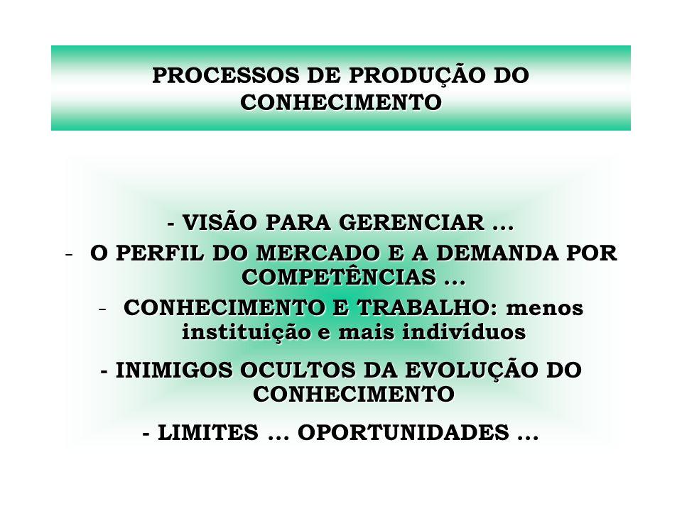 PROCESSOS DE PRODUÇÃO DO CONHECIMENTO
