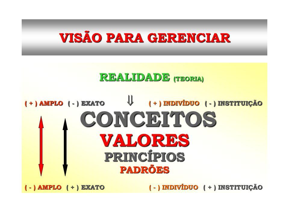 CONCEITOS VALORES VISÃO PARA GERENCIAR PRINCÍPIOS PADRÕES