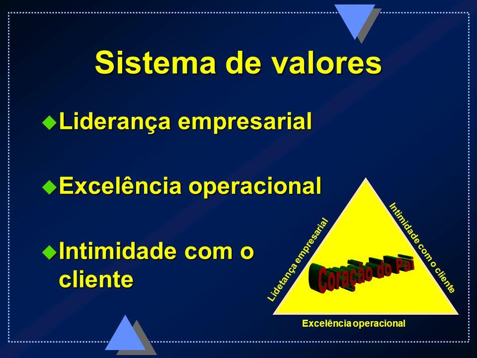 Sistema de valores Liderança empresarial Excelência operacional