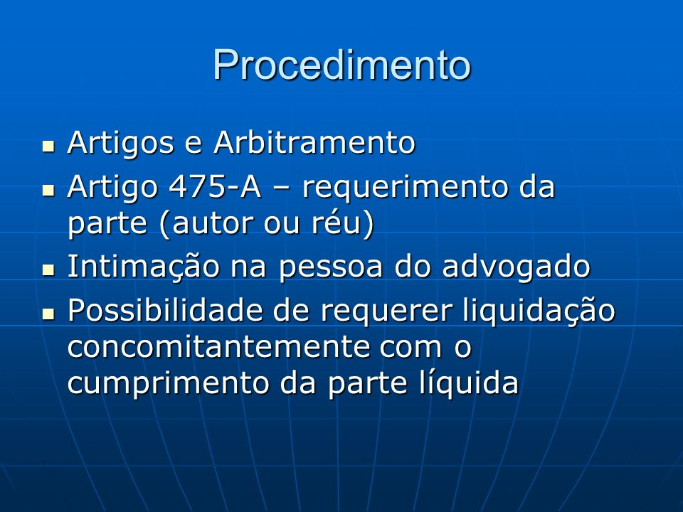 Procedimento Artigos e Arbitramento