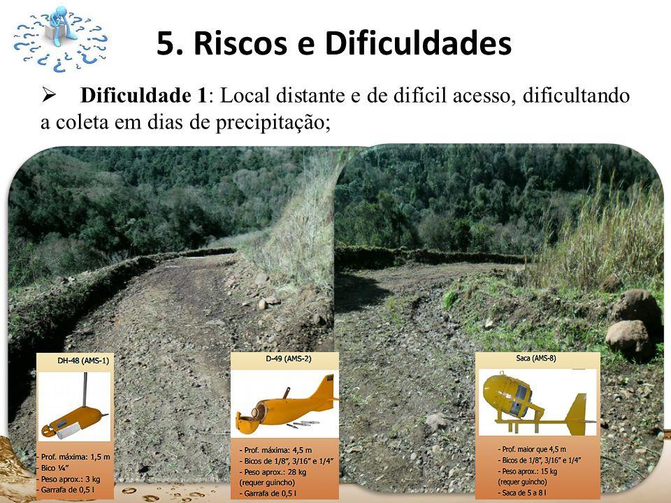 5. Riscos e Dificuldades Dificuldade 1: Local distante e de difícil acesso, dificultando a coleta em dias de precipitação;