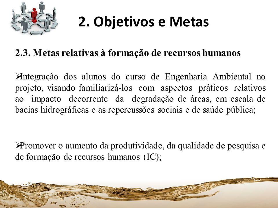 2. Objetivos e Metas 2.3. Metas relativas à formação de recursos humanos.