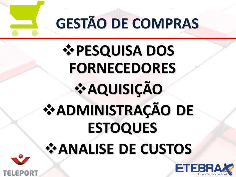 PESQUISA DOS FORNECEDORES ADMINISTRAÇÃO DE ESTOQUES