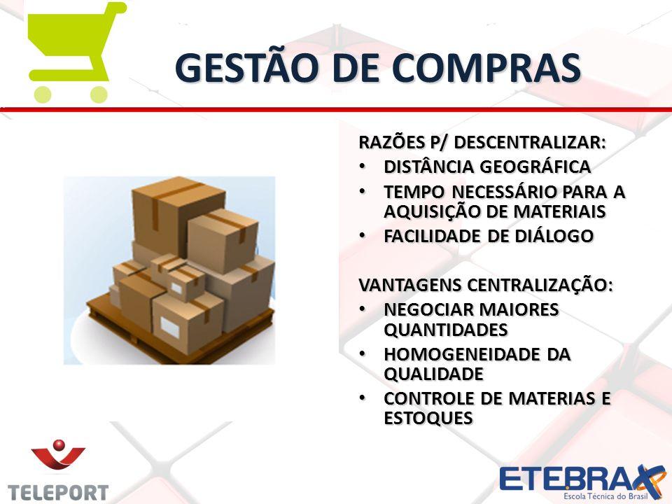 GESTÃO DE COMPRAS RAZÕES P/ DESCENTRALIZAR: DISTÂNCIA GEOGRÁFICA