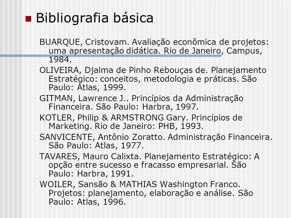 Bibliografia básica BUARQUE, Cristovam. Avaliação econômica de projetos: uma apresentação didática. Rio de Janeiro, Campus, 1984.