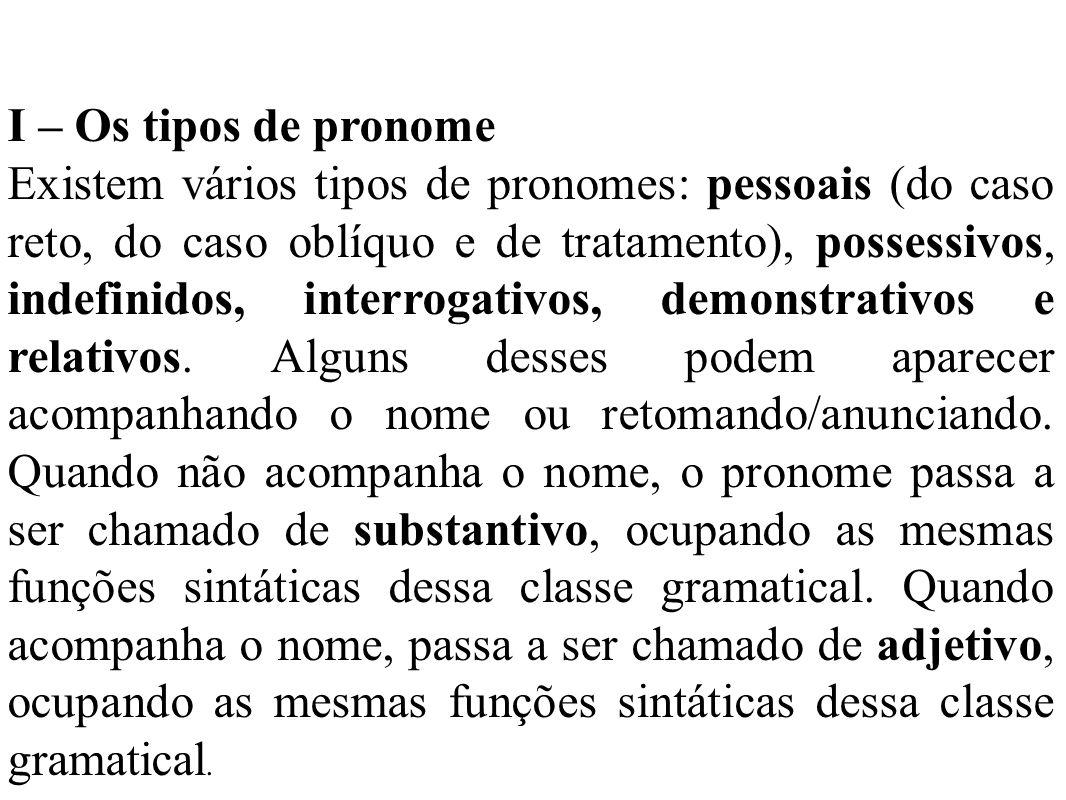 I – Os tipos de pronome