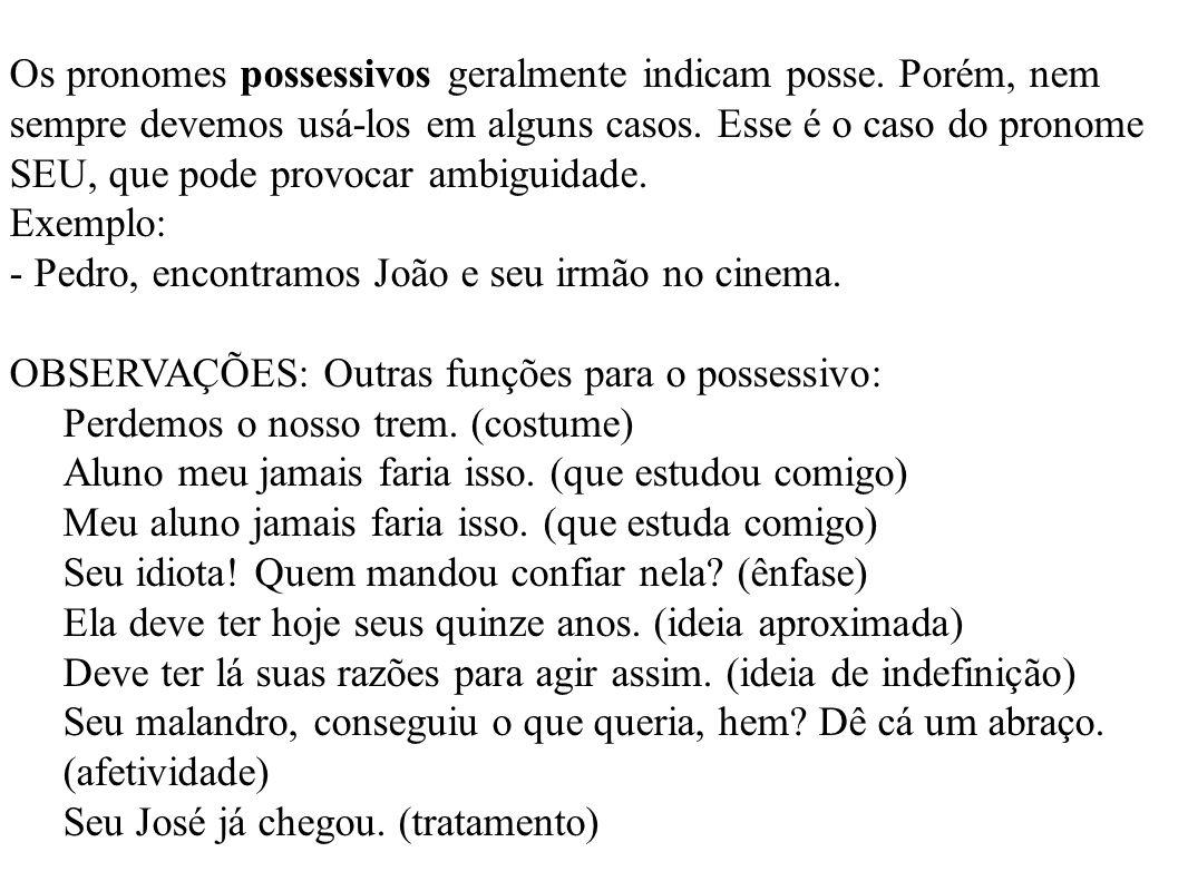 Os pronomes possessivos geralmente indicam posse