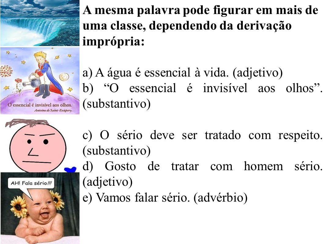 A mesma palavra pode figurar em mais de uma classe, dependendo da derivação imprópria: