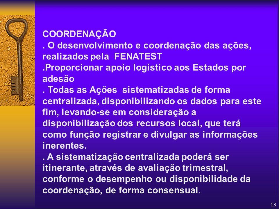 COORDENAÇÃO . O desenvolvimento e coordenação das ações, realizados pela FENATEST. .Proporcionar apoio logístico aos Estados por adesão.
