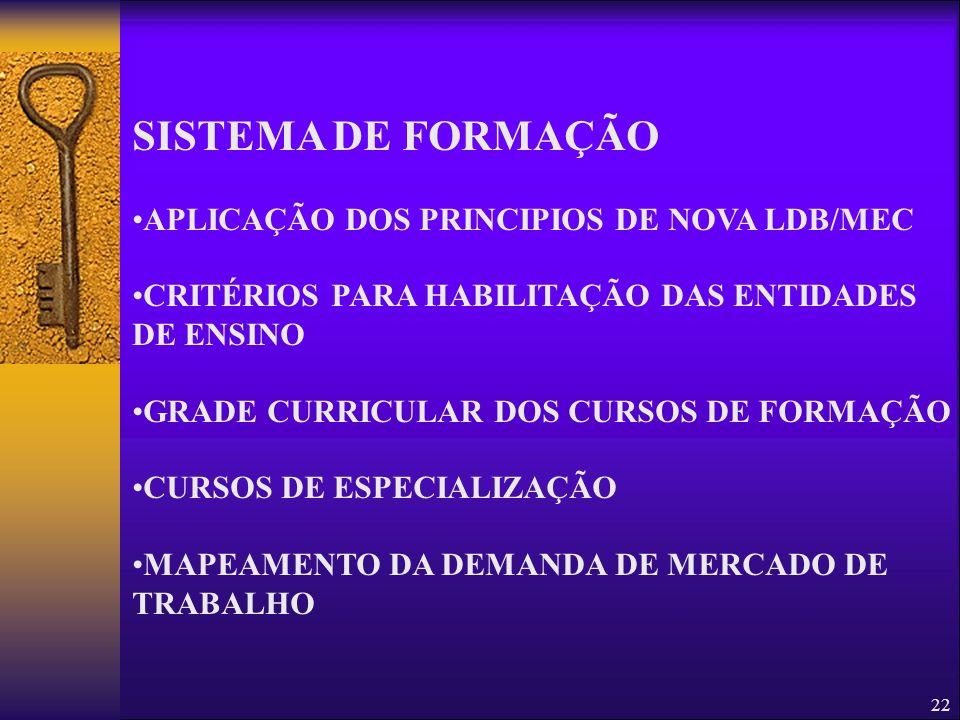 SISTEMA DE FORMAÇÃO APLICAÇÃO DOS PRINCIPIOS DE NOVA LDB/MEC