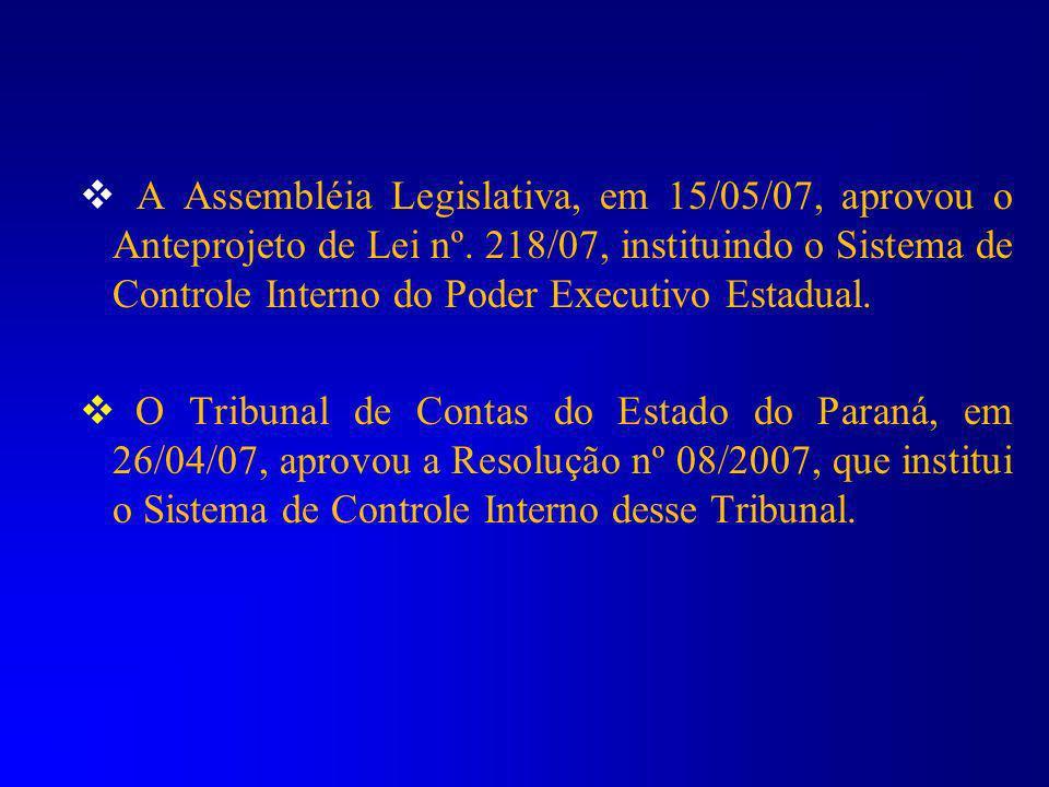 A Assembléia Legislativa, em 15/05/07, aprovou o Anteprojeto de Lei nº