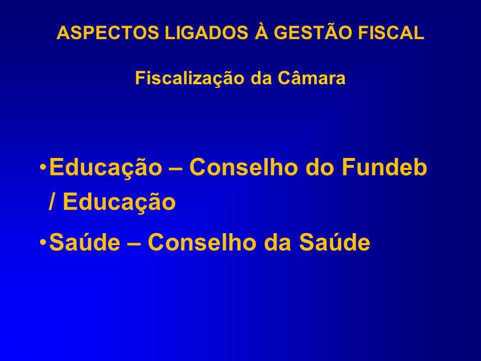 ASPECTOS LIGADOS À GESTÃO FISCAL Fiscalização da Câmara