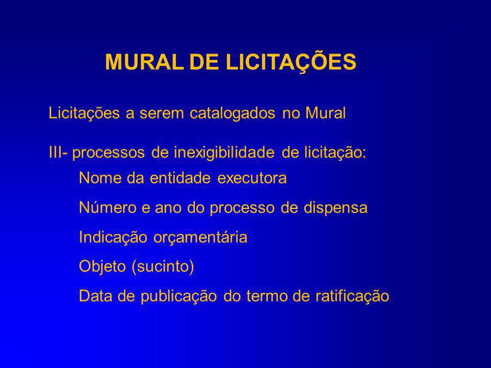 MURAL DE LICITAÇÕES Licitações a serem catalogados no Mural
