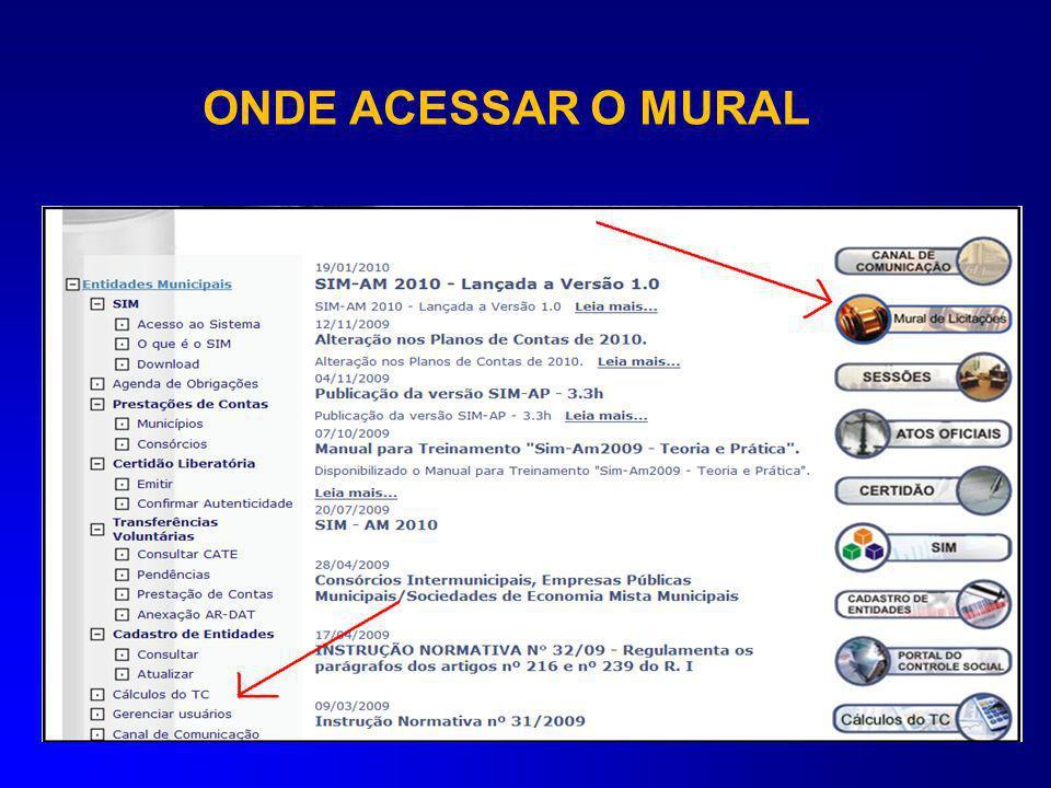 ONDE ACESSAR O MURAL