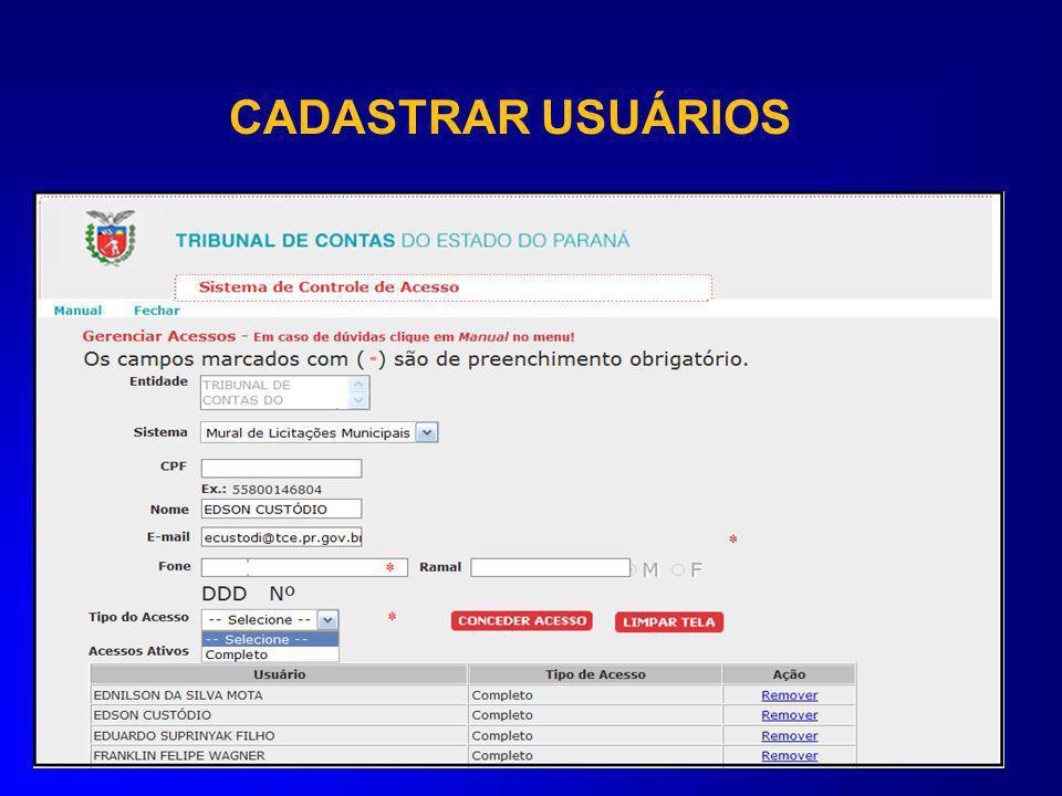 CADASTRAR USUÁRIOS