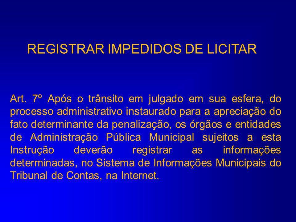 REGISTRAR IMPEDIDOS DE LICITAR
