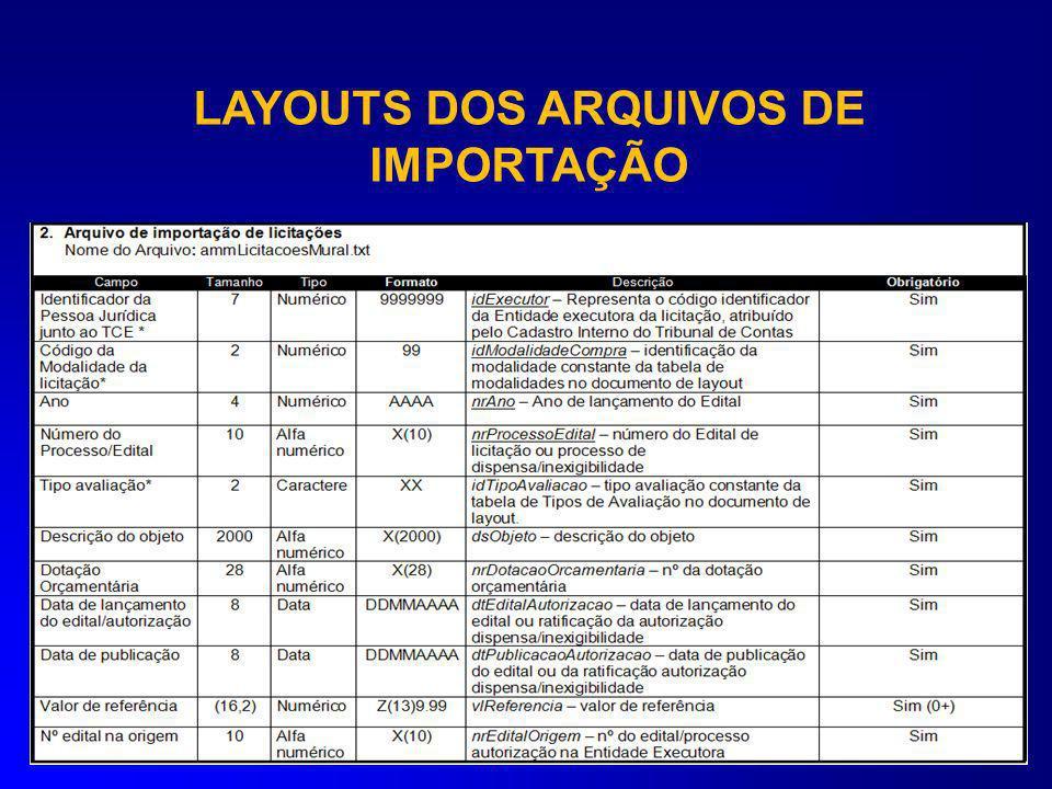 LAYOUTS DOS ARQUIVOS DE IMPORTAÇÃO