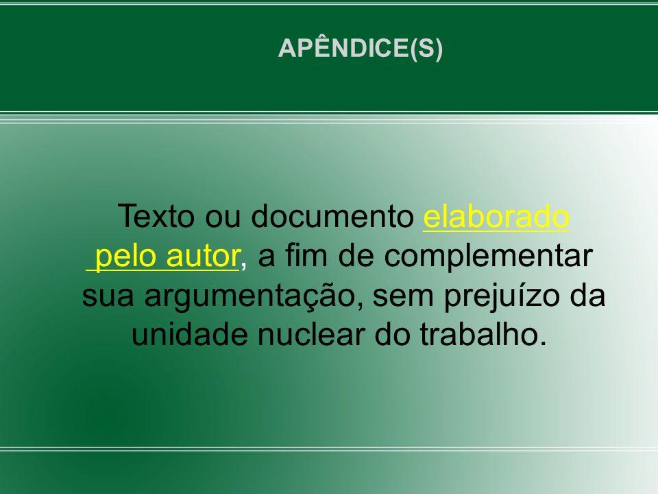 Texto ou documento elaborado pelo autor, a fim de complementar