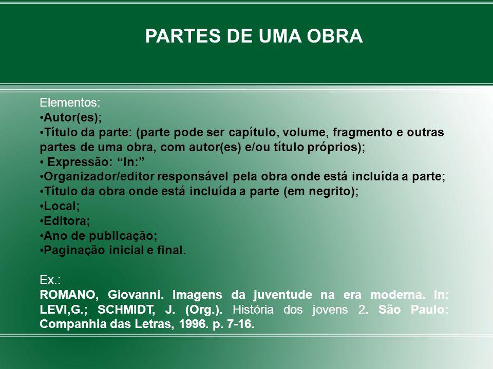 PARTES DE UMA OBRA Elementos: Autor(es);