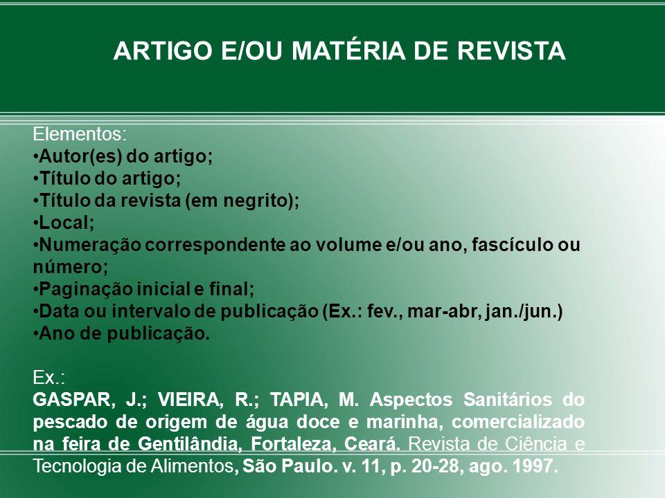 ARTIGO E/OU MATÉRIA DE REVISTA
