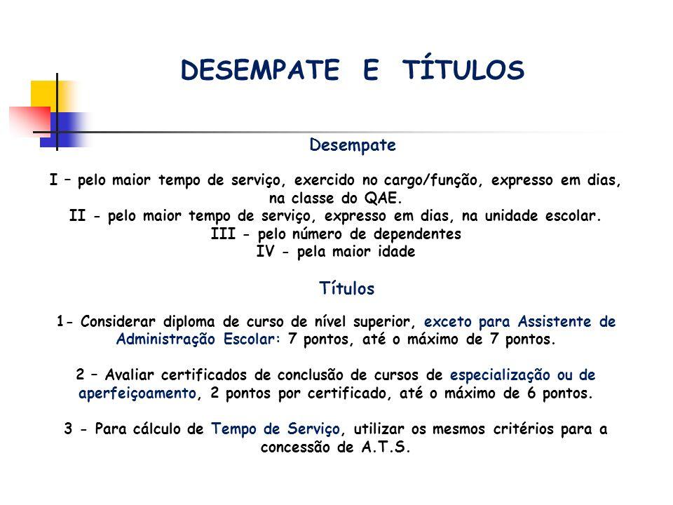 DESEMPATE E TÍTULOS Títulos Desempate