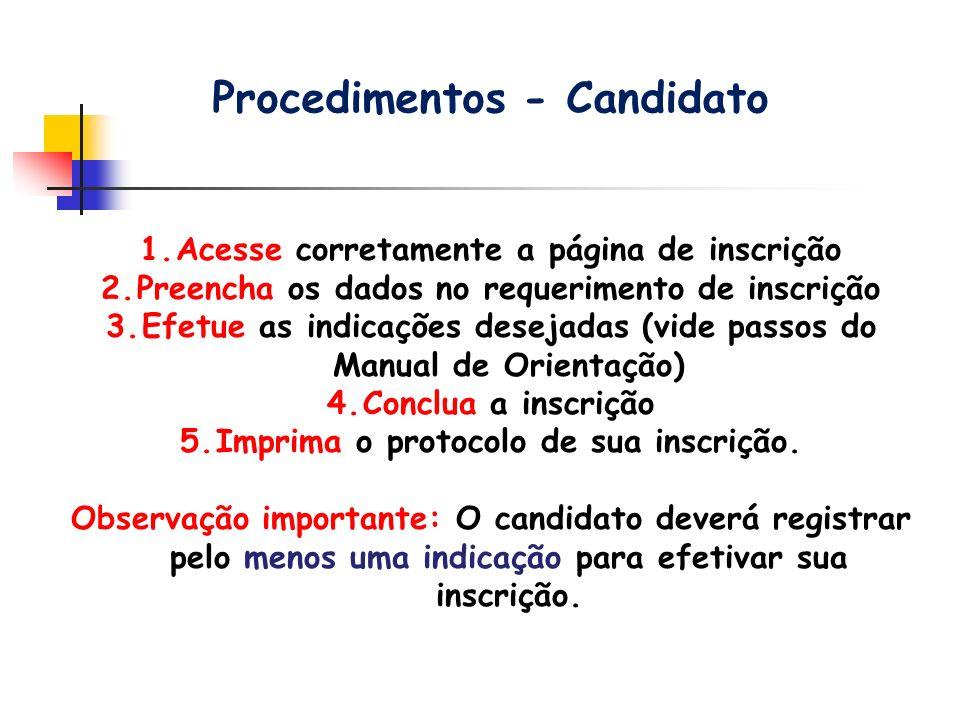 Procedimentos - Candidato