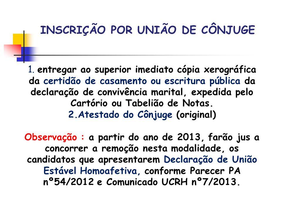 INSCRIÇÃO POR UNIÃO DE CÔNJUGE