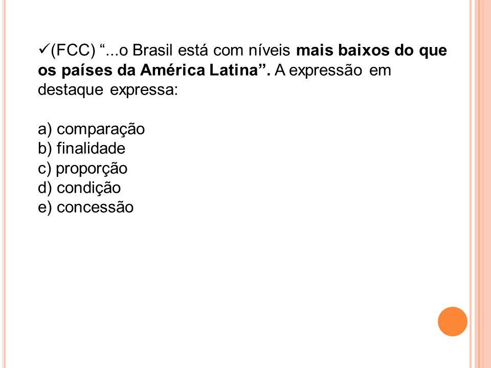 (FCC) ...o Brasil está com níveis mais baixos do que os países da América Latina . A expressão em destaque expressa: