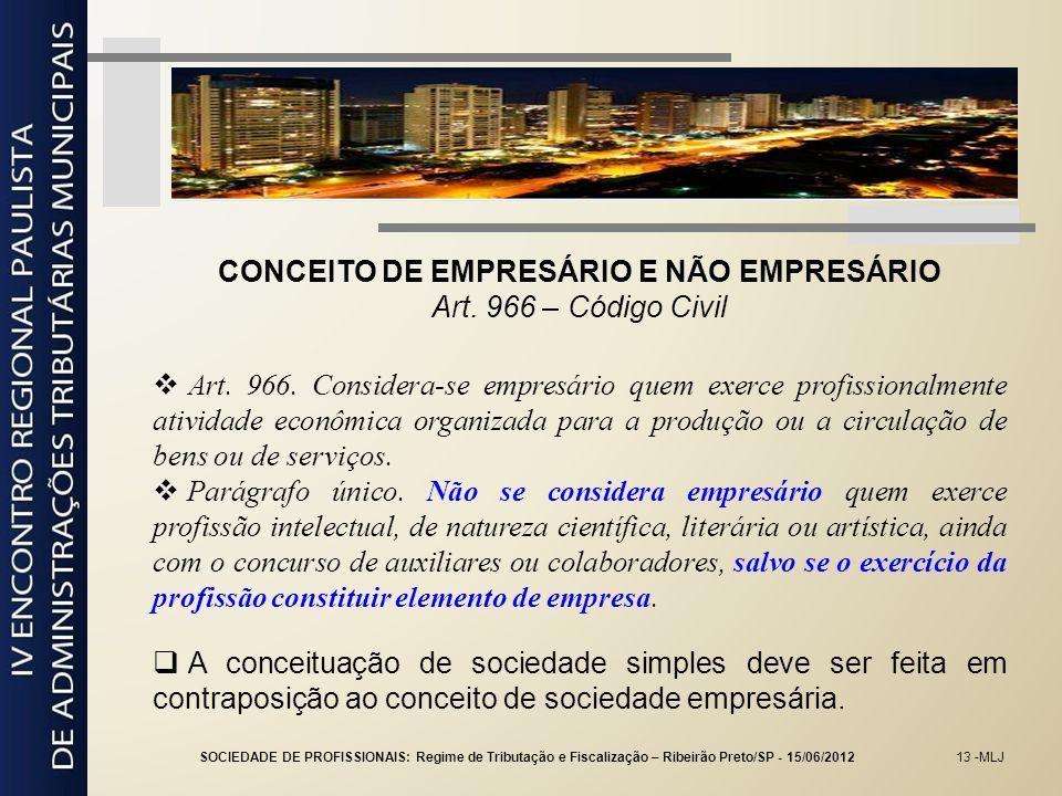 CONCEITO DE EMPRESÁRIO E NÃO EMPRESÁRIO