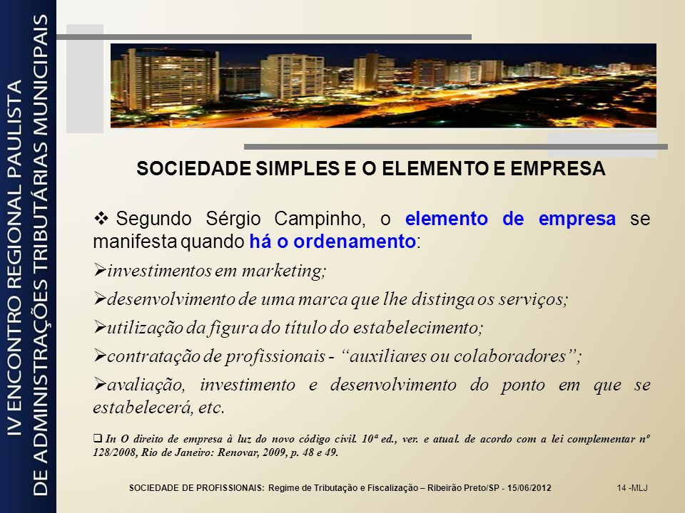 SOCIEDADE SIMPLES E O ELEMENTO E EMPRESA