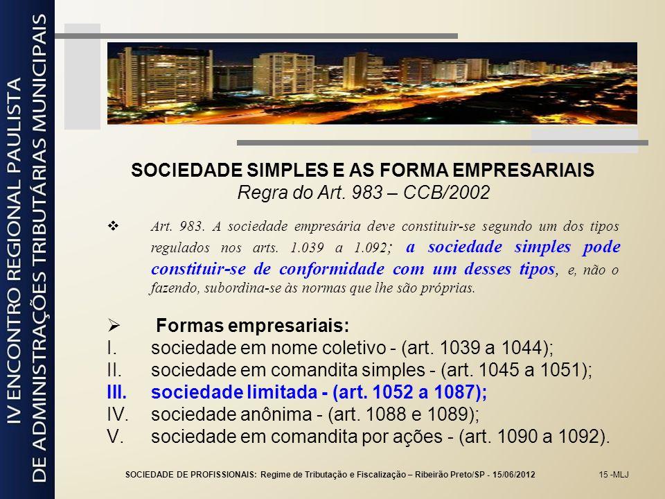 SOCIEDADE SIMPLES E AS FORMA EMPRESARIAIS