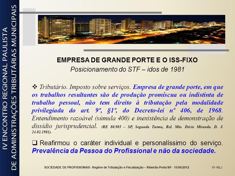 EMPRESA DE GRANDE PORTE E O ISS-FIXO