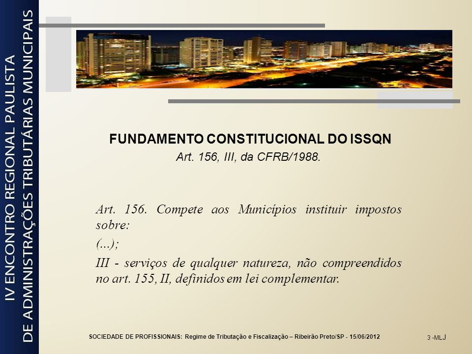 FUNDAMENTO CONSTITUCIONAL DO ISSQN